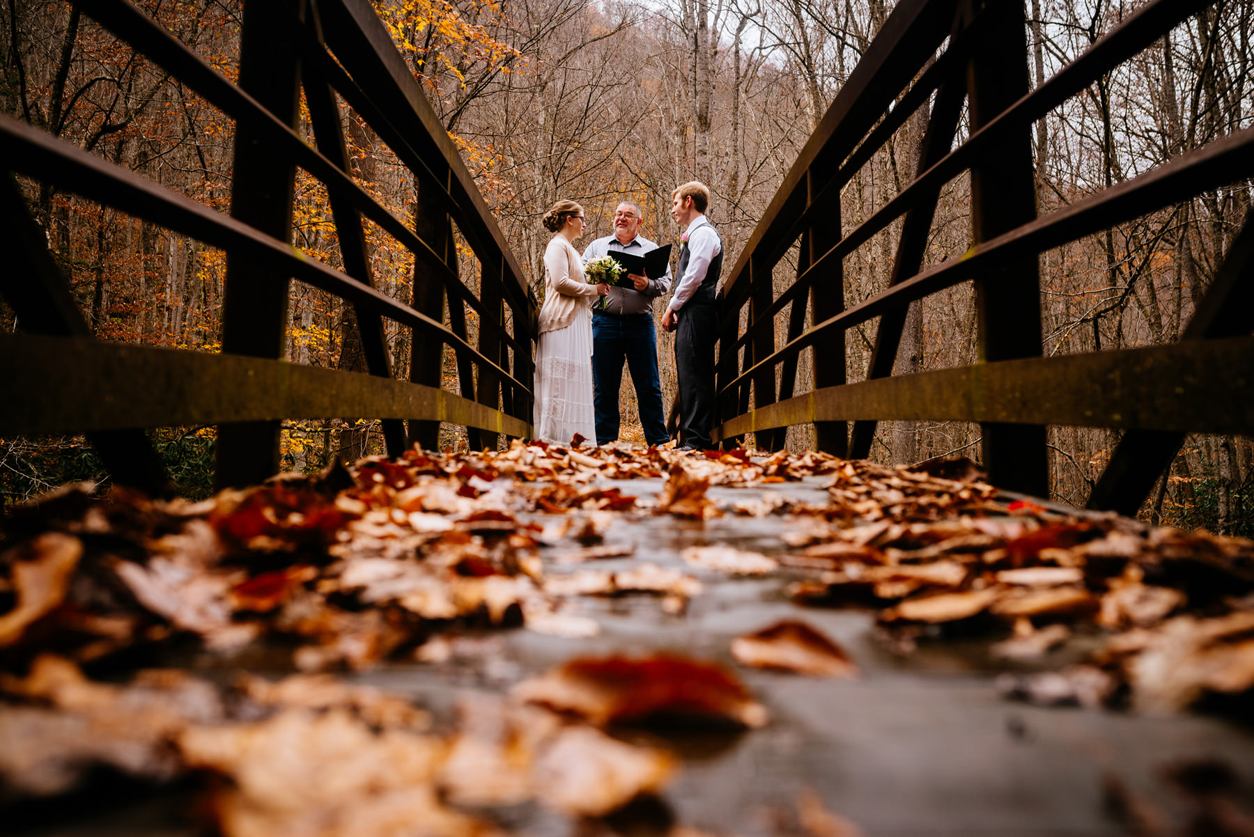 ceremony on bridge glade springs wv hiking elopement