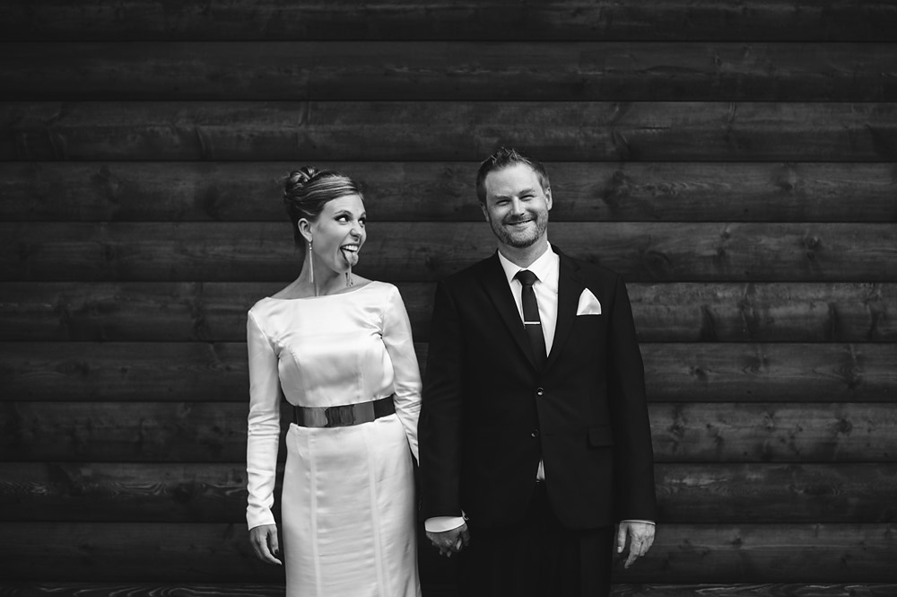 silly bride and groom portrait