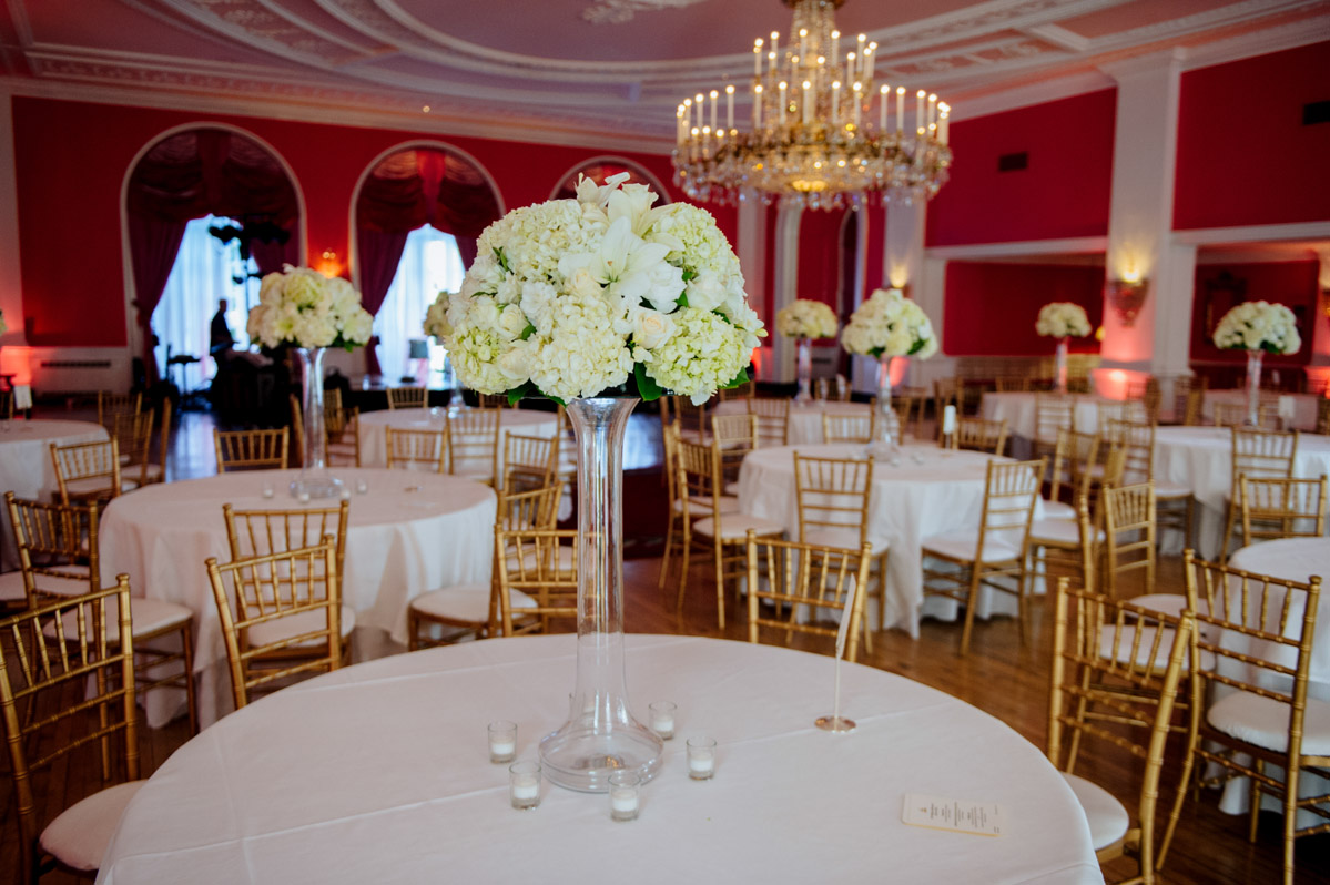 wedding reception decor at the greenbrier cameo ballroom