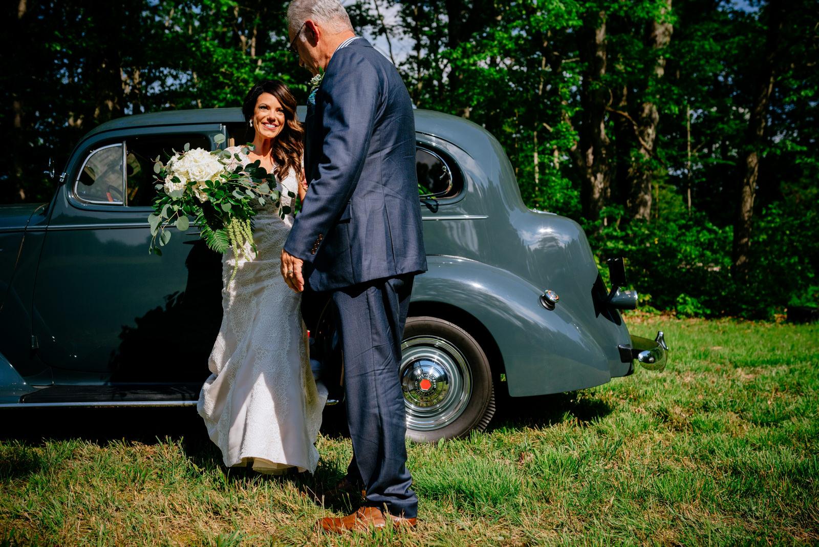 bride preparing to walk down aisle gaines estate fayetteville wv wedding