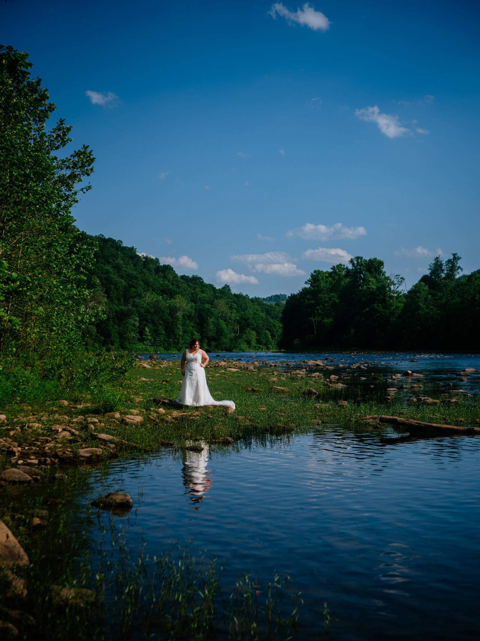 cheat river wedding bridal photo