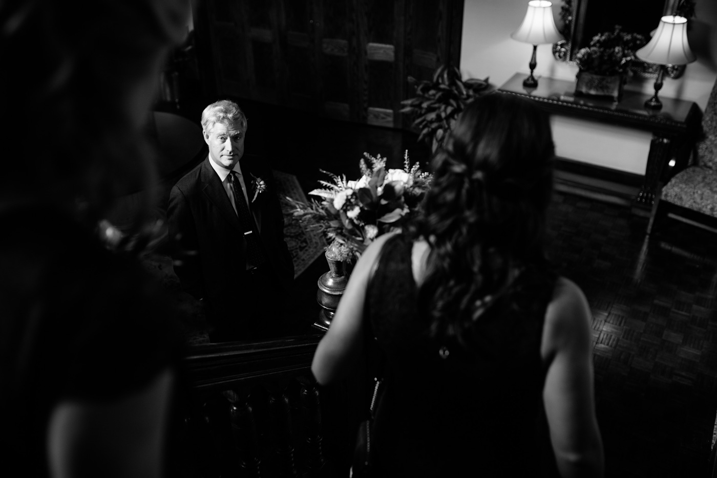 father of the bride waits before ceremony