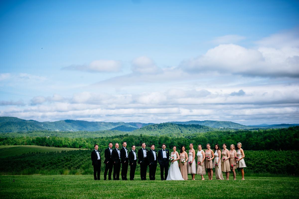 pharsalia virginia wedding party portrait with blueridge mountains in background