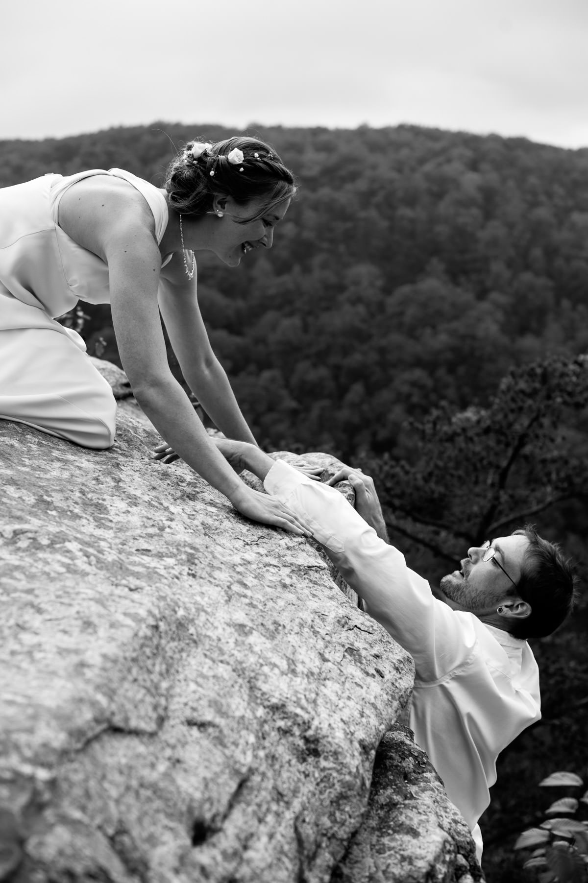 rock climber wedding new river gorge fayetteville photographers the oberports