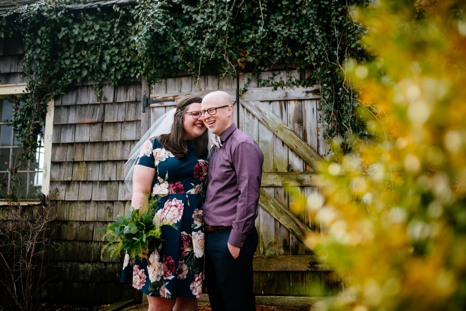 bride groom snuggling terrain elopement philadelphia