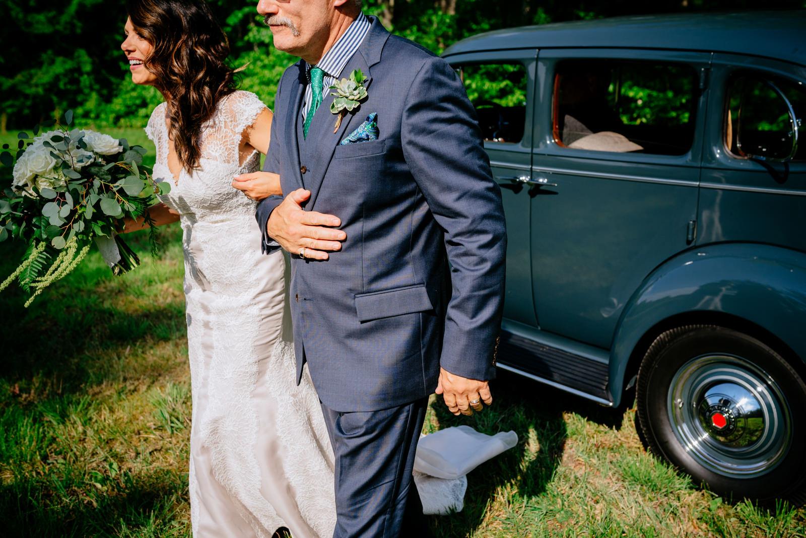 bride walking down aisle gaines estate fayetteville wv wedding