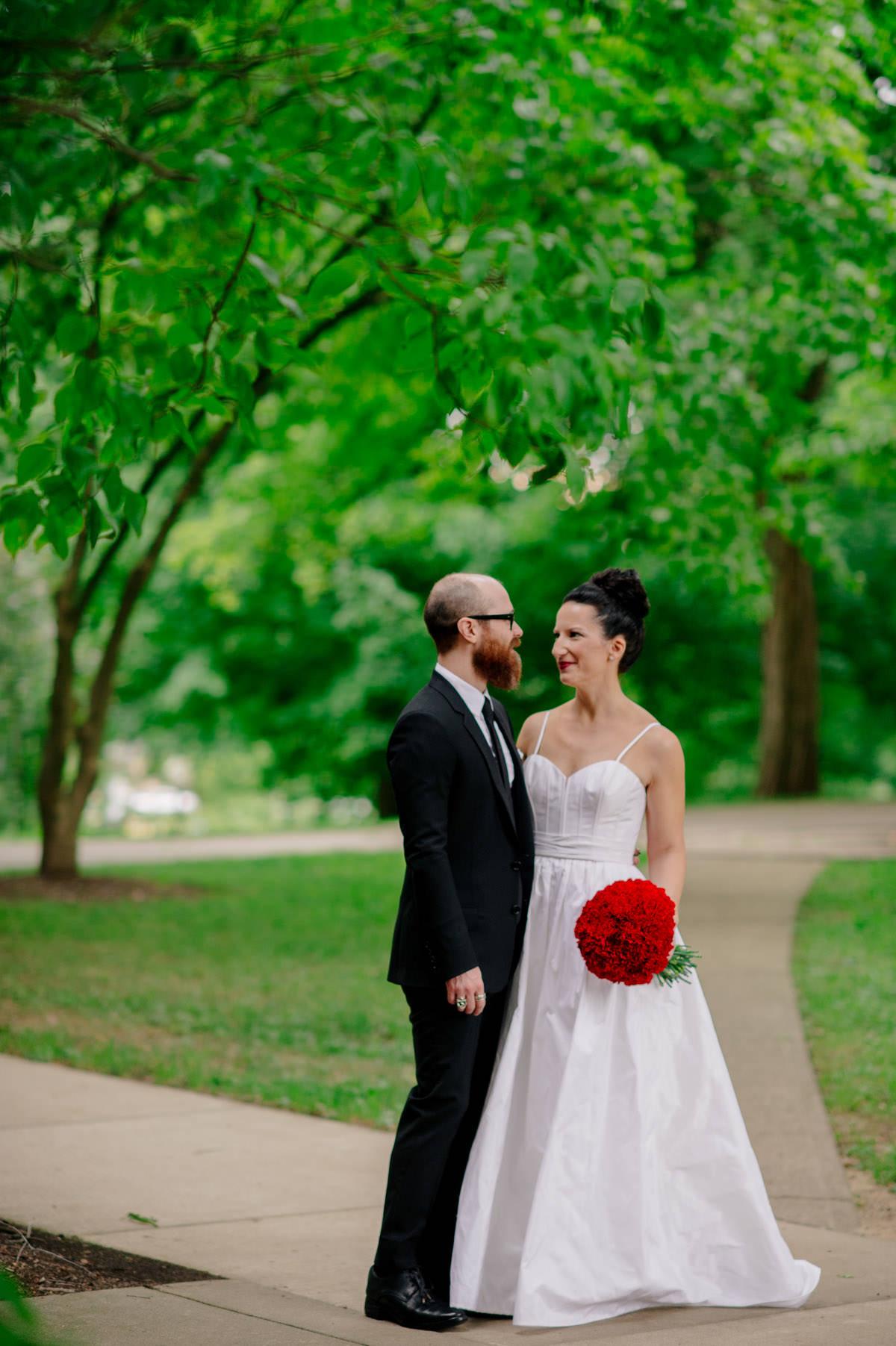 bride wearing amsale dress wedding portraits at marietta college