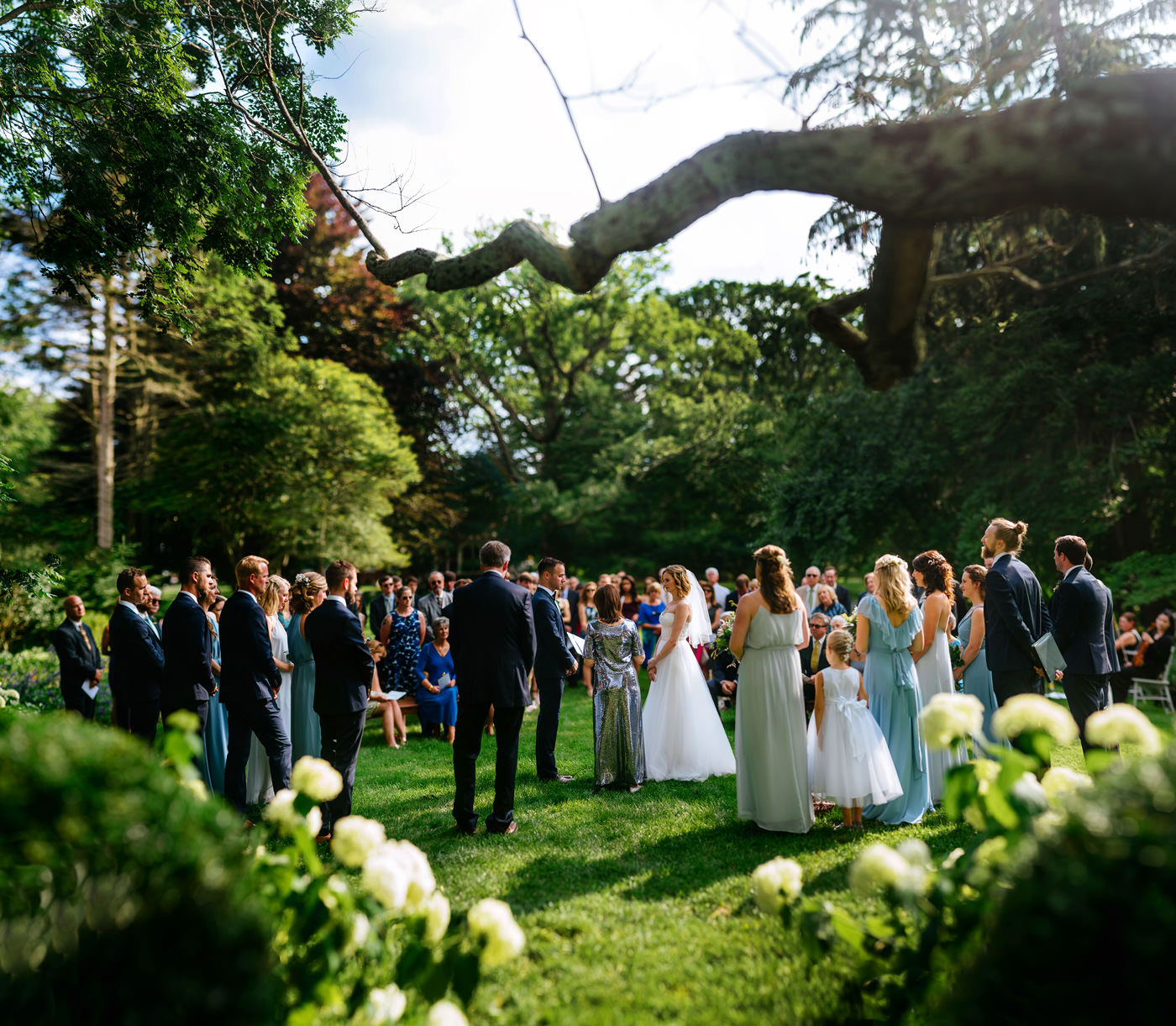 lewisburg wv outdoor garden ceremony at tuscawilla farm bokeh panorama brenizer method