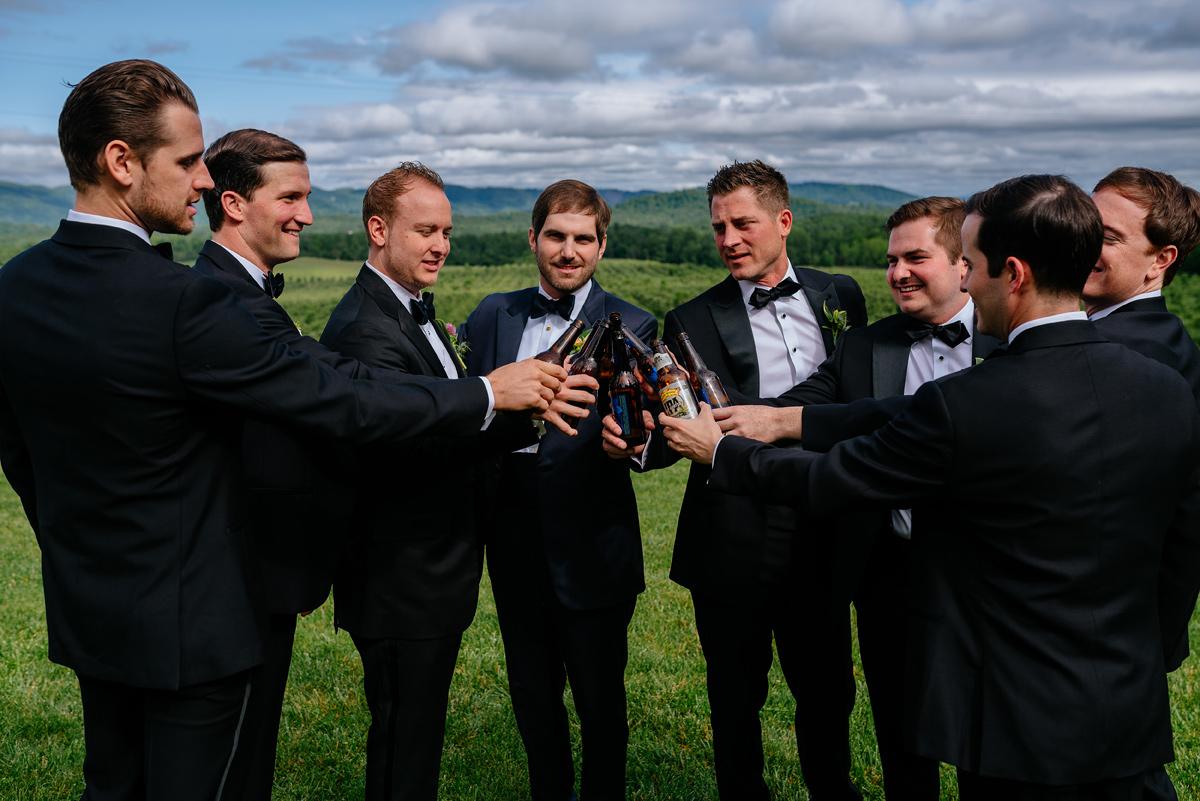 pharsalia virginia groomsmen toasting portrait