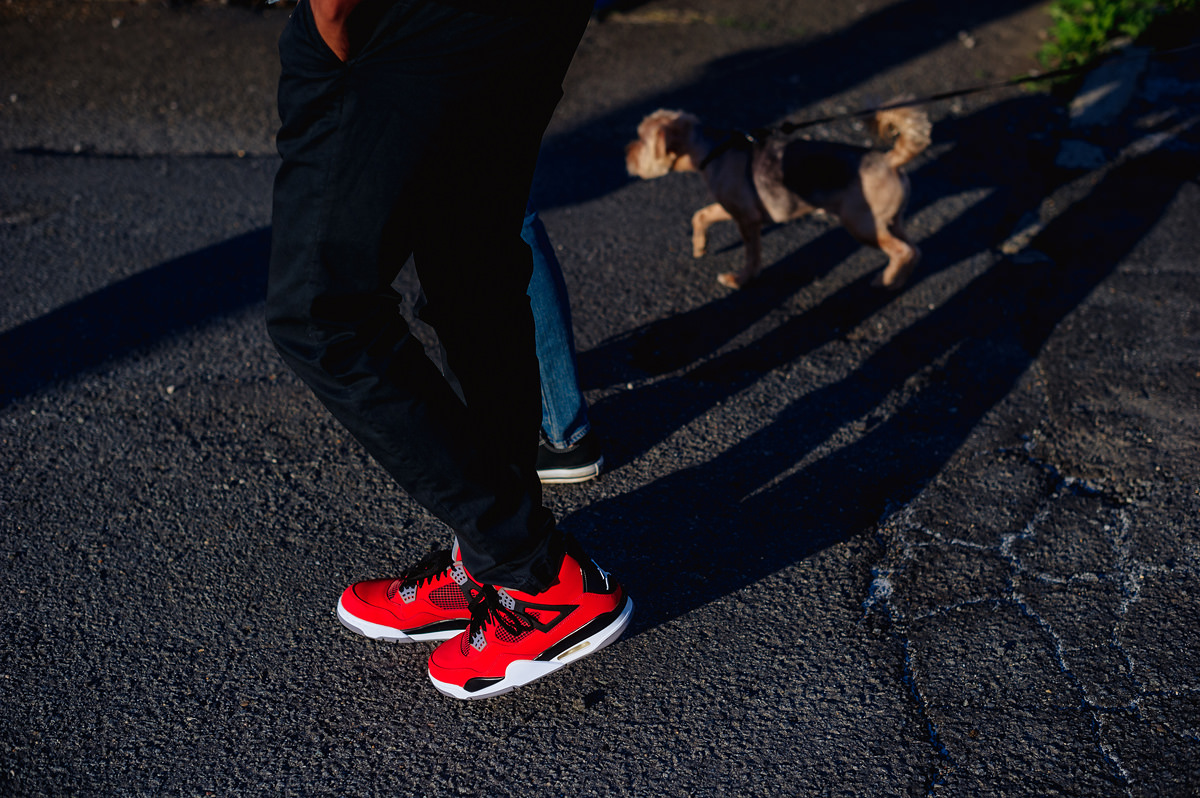awesome sneakers at engagement session
