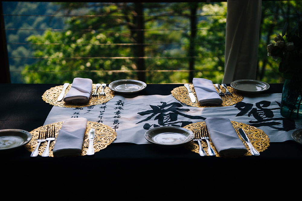 chinese wedding details hand lettering gold doilies