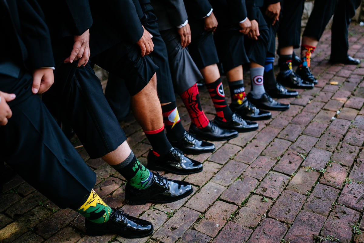 groomsmen comicbook socks