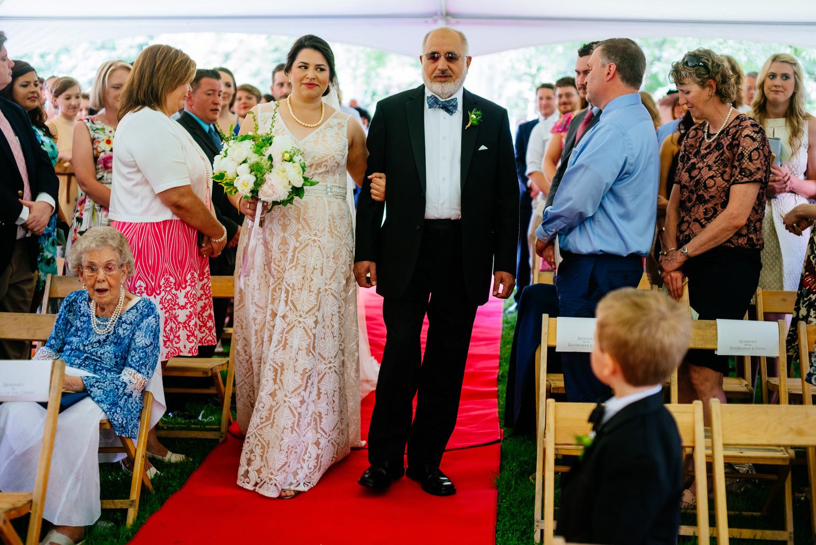 bride walking down aisle holly hill inn wedding lexington kentucky