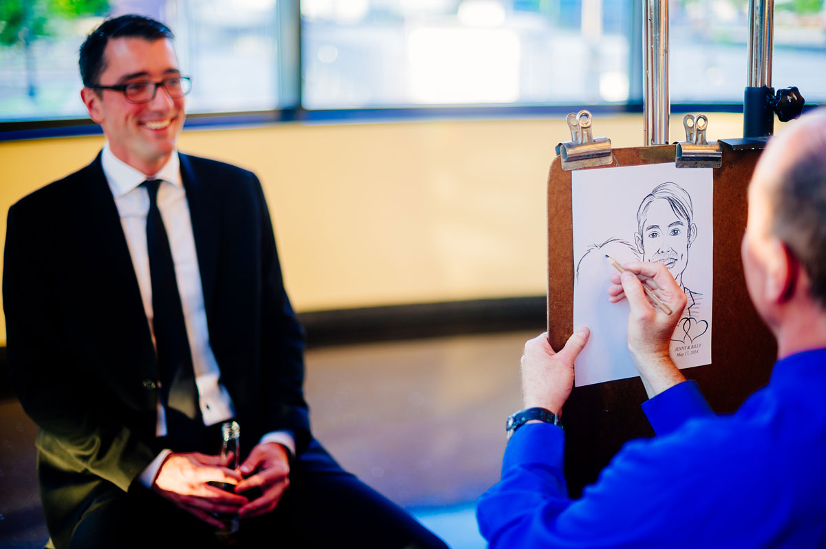 creative wedding favors reception caricature artist