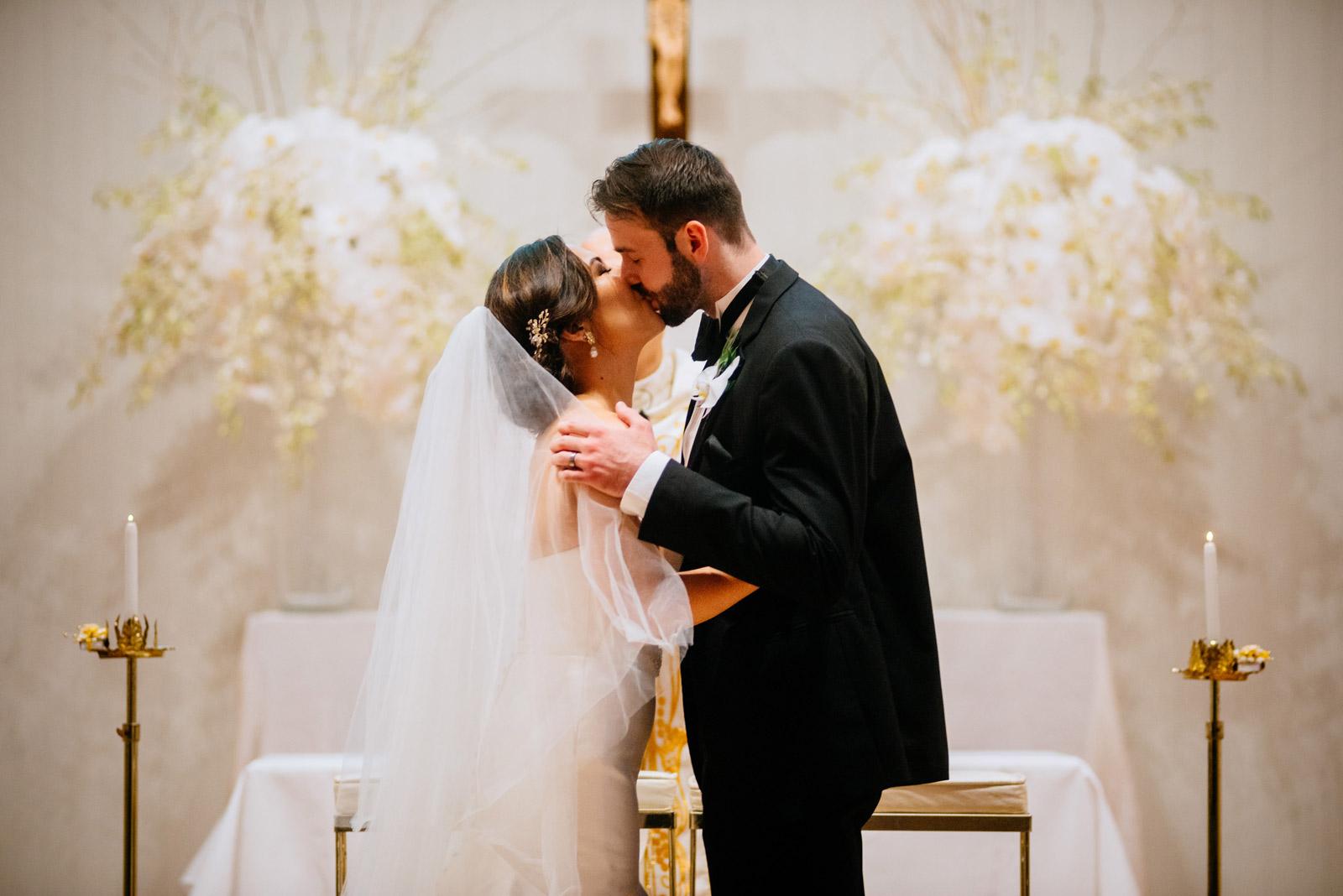 first kiss greenbrier chapel wedding