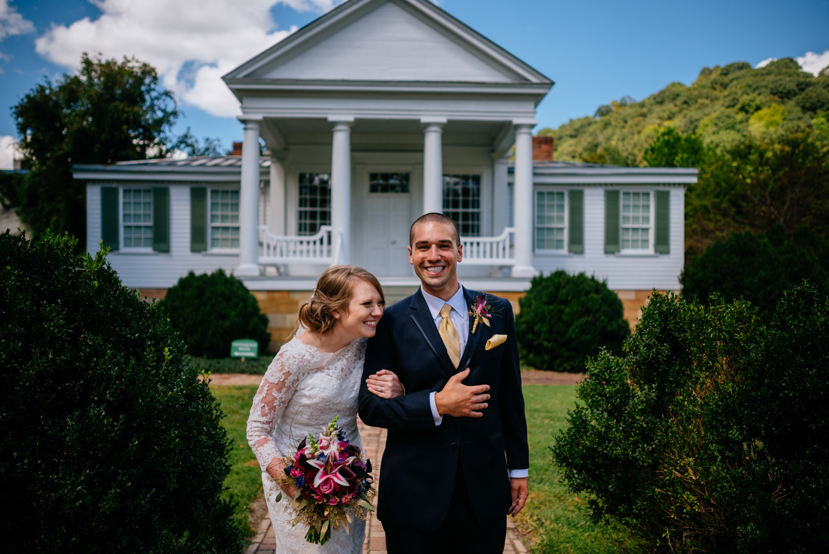 happy bride groom portrait craik patton house wedding charleston west virginia
