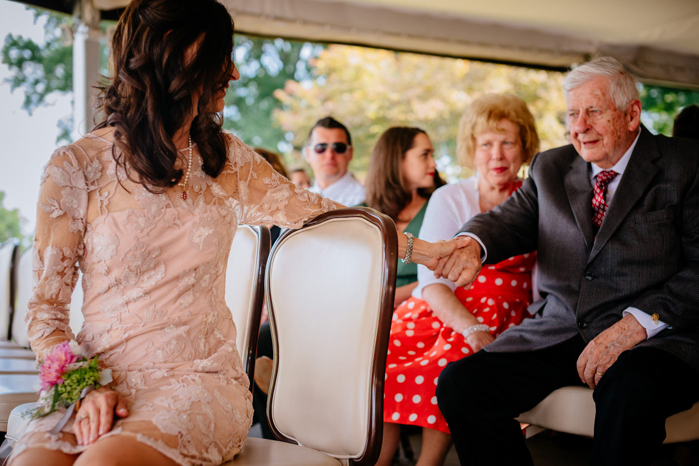 tender family moment during wedding ceremony
