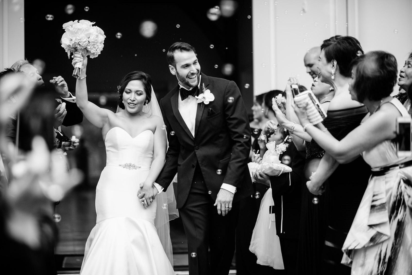 bride groom just married greenbrier chapel wedding
