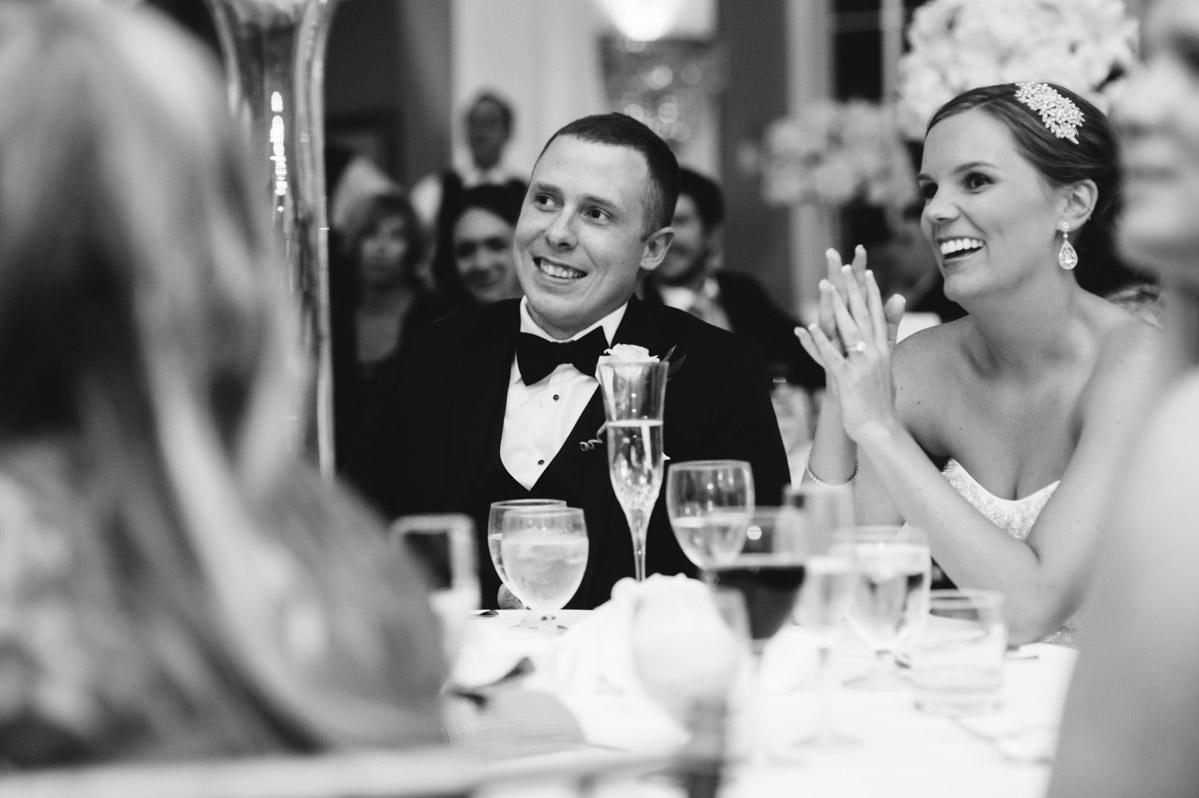 bride groom laughing during toast cameo ballroom elegant greenbrier resort wedding reception