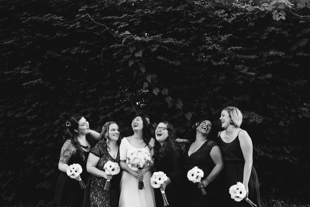 happy bridesmaids wv wedding