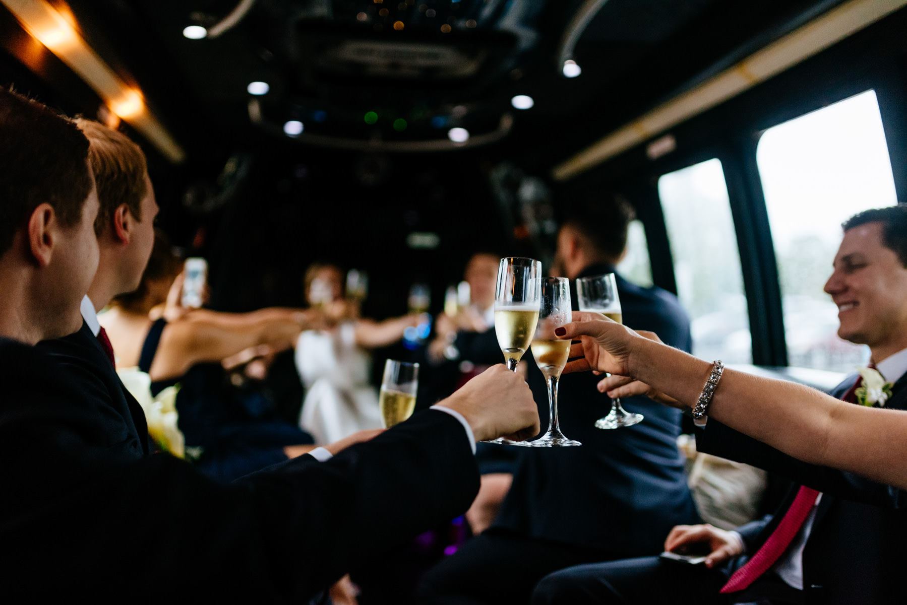 toasting champagne in limo