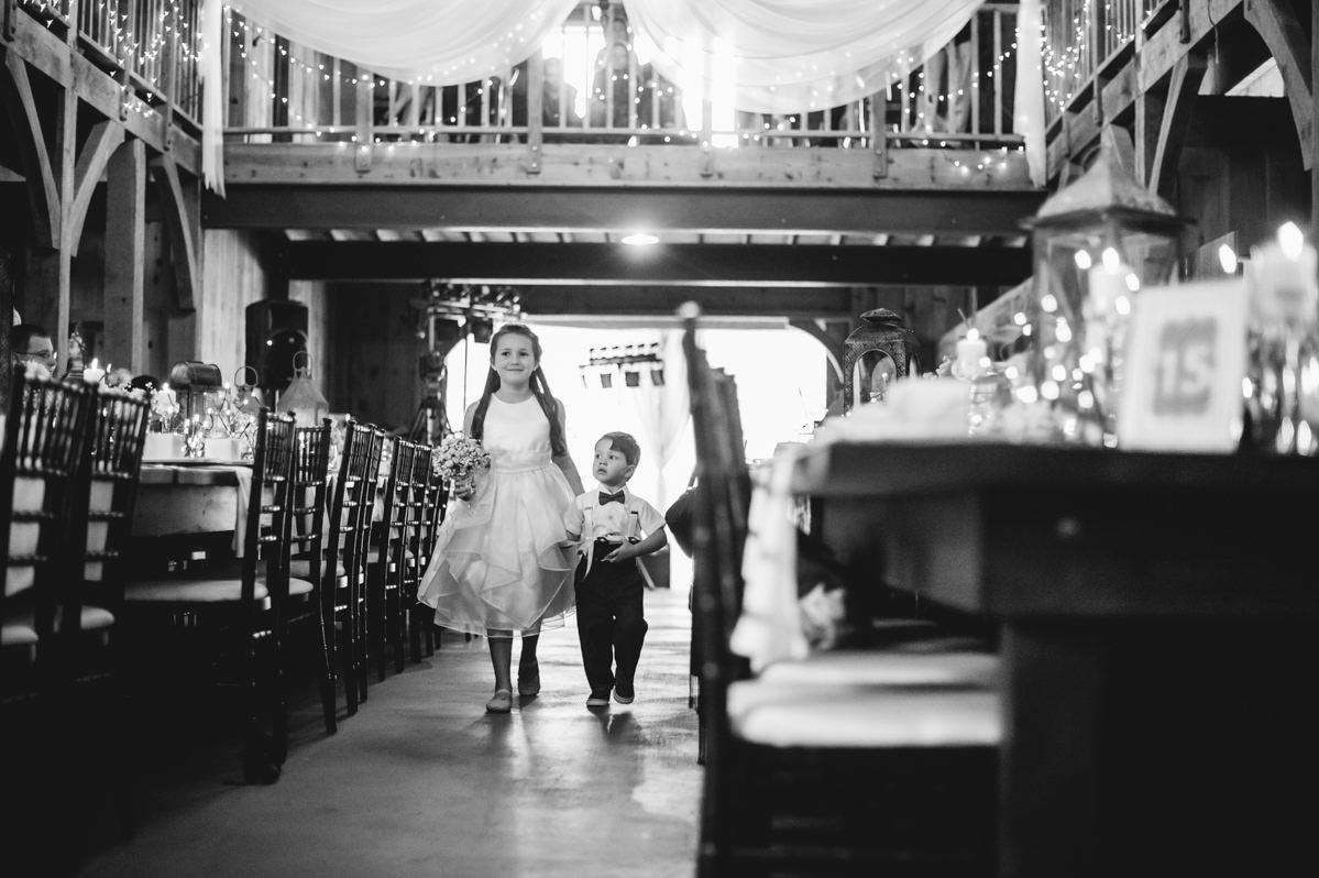 indoor wedding ceremony at laurelwood farm on signal mountain