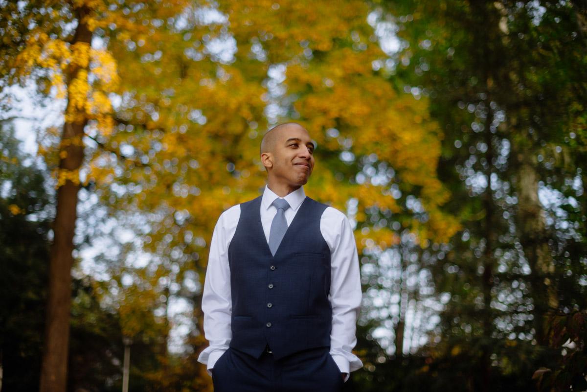 wv october elopement groom portrait