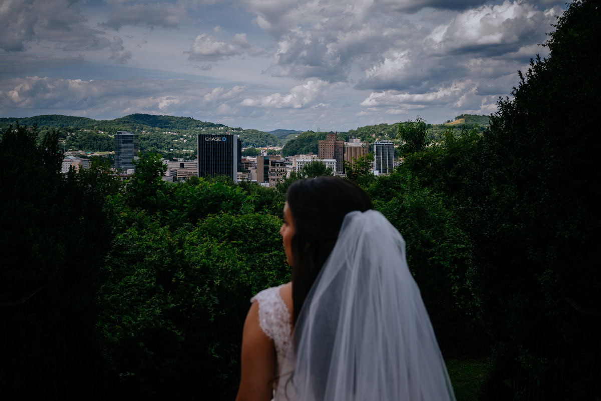 bride looks out at charleston wv