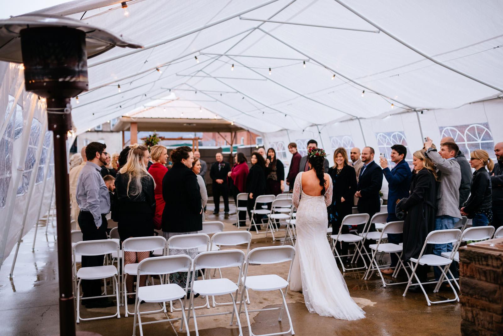 bride walking down aisle chesnut hotel wedding
