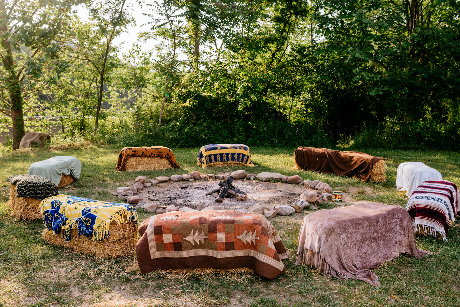 campfire and blankets cheat river wedding