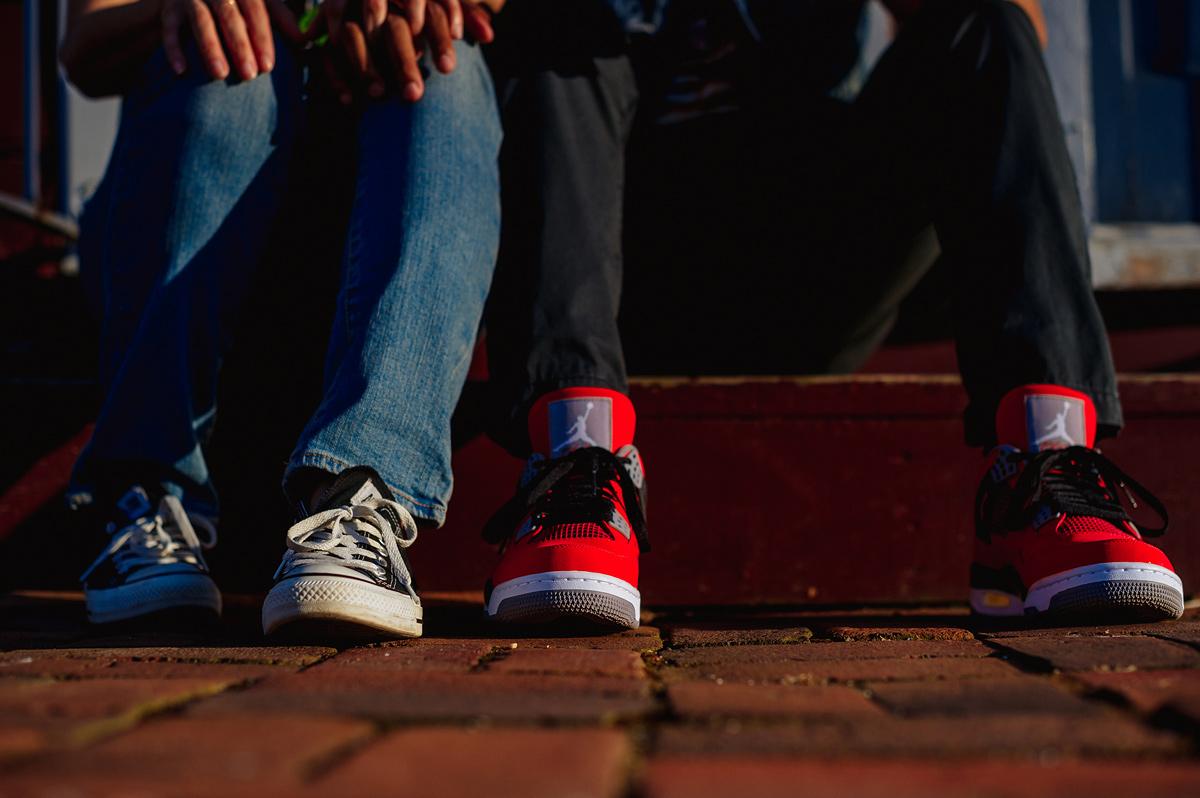 cool kicks at engagement shoot