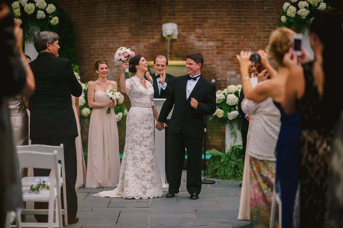 greenbrier wedding ceremony first kiss