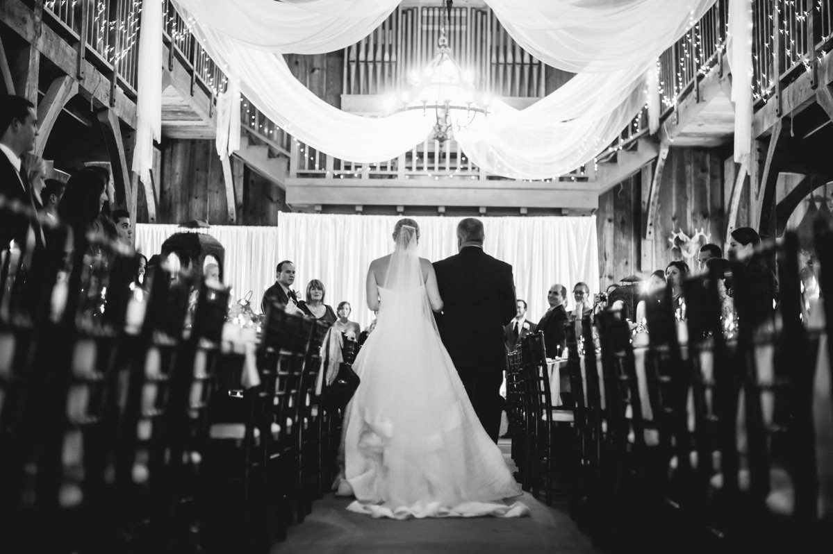 indoor wedding ceremony at laurelwood farm on signal mountain