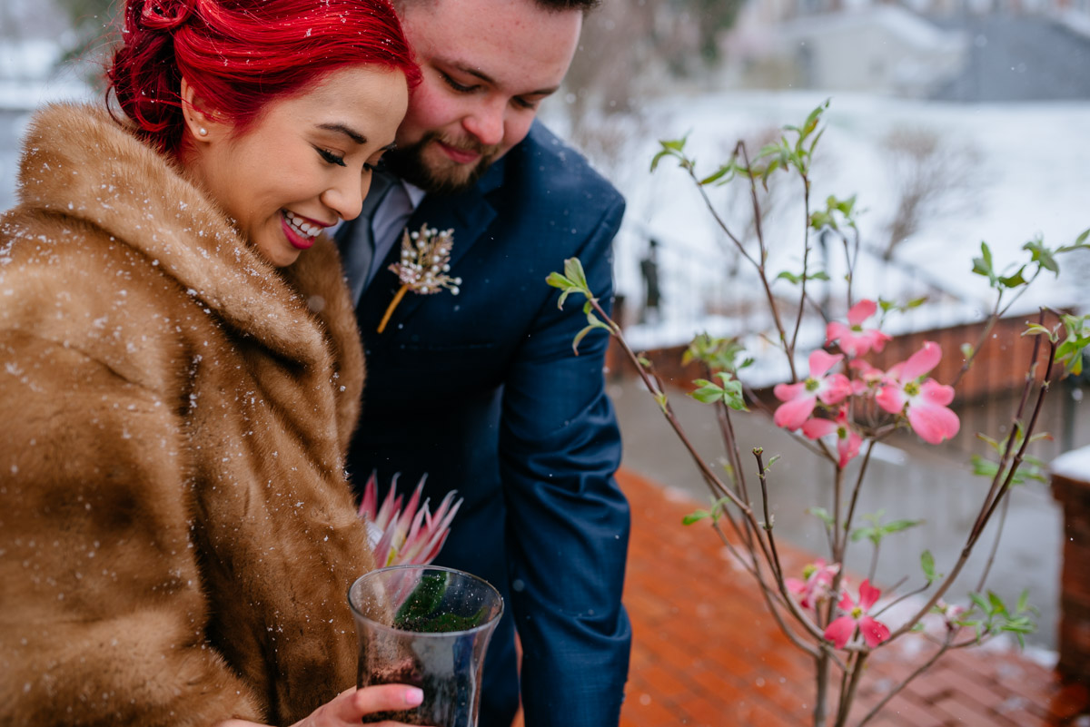 west virginia snowy springtime elopement
