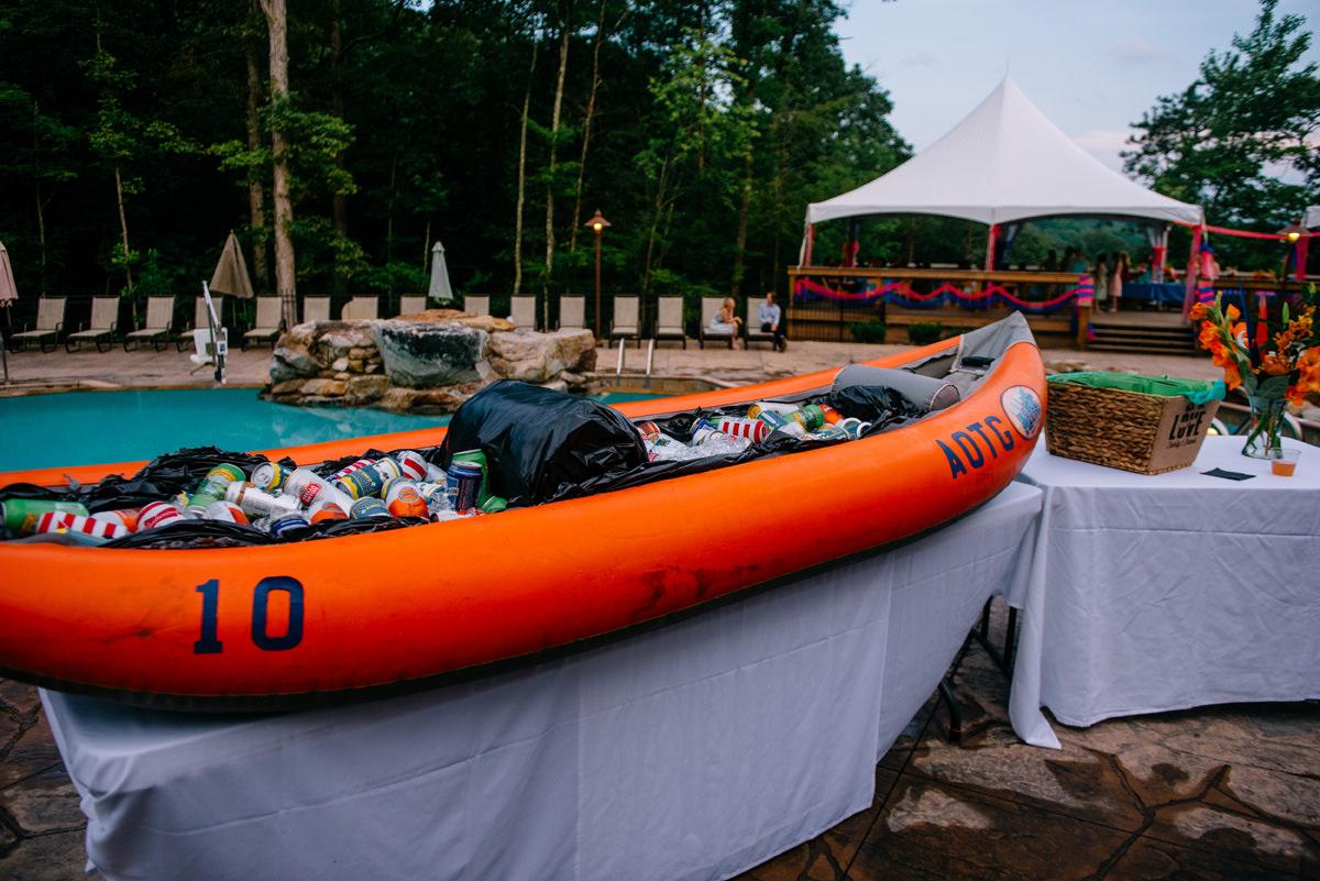 beer in a canoe AOTG wedding
