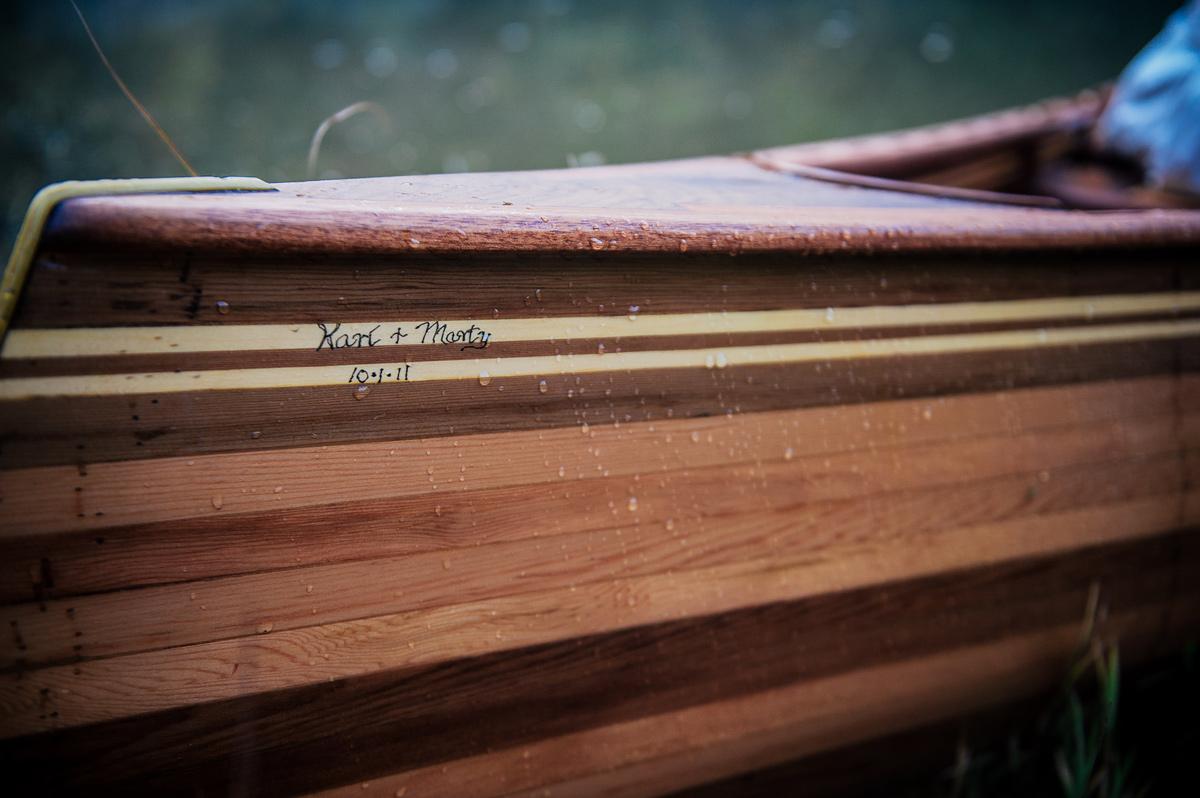 bride and groom custom canoe