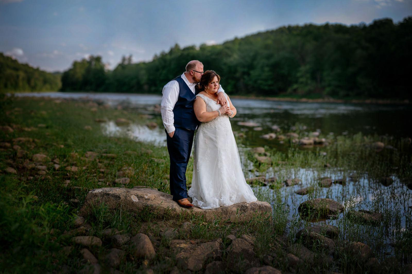 bride groom embrace west virginia cheat river wedding