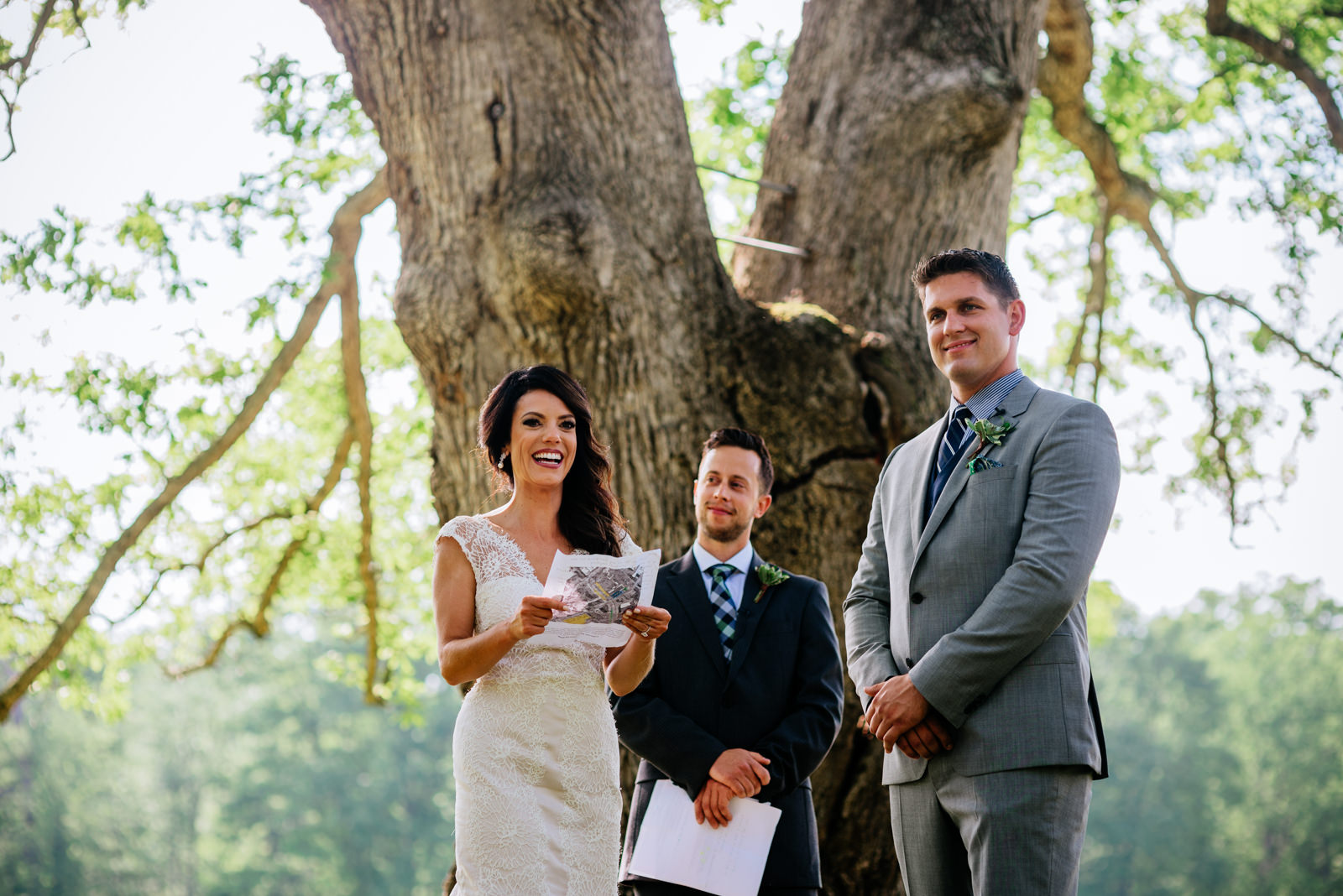 ceremony under white oak tree gaines estate fayetteville wv wedding