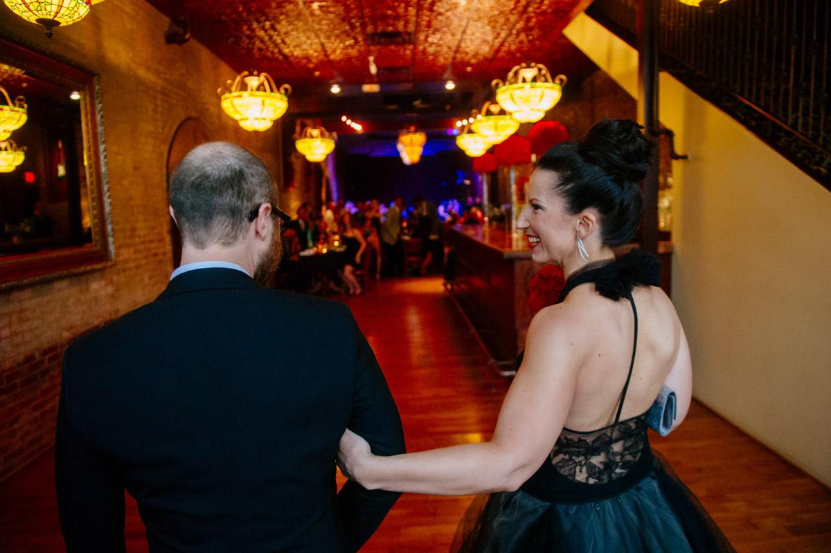 happy bride entering reception at adelphia marietta ohio