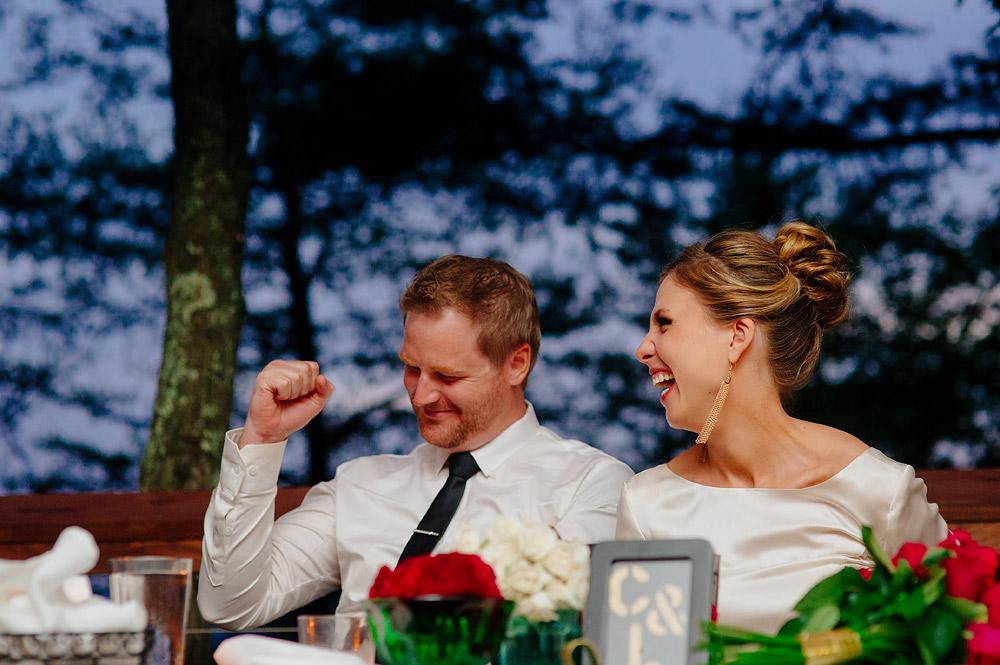 toasts at dusk at wedding
