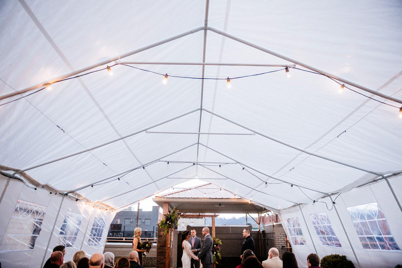 wedding on rooftop tent morgantown west virginia