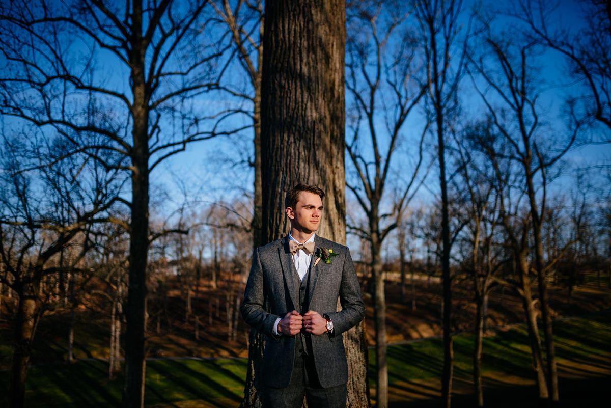 wv winter wedding groom portrait huntington wv