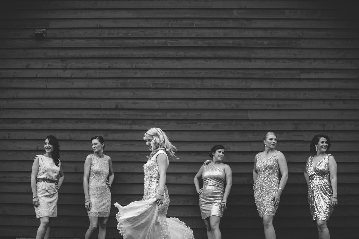 bridesmaids in different sequin dresses