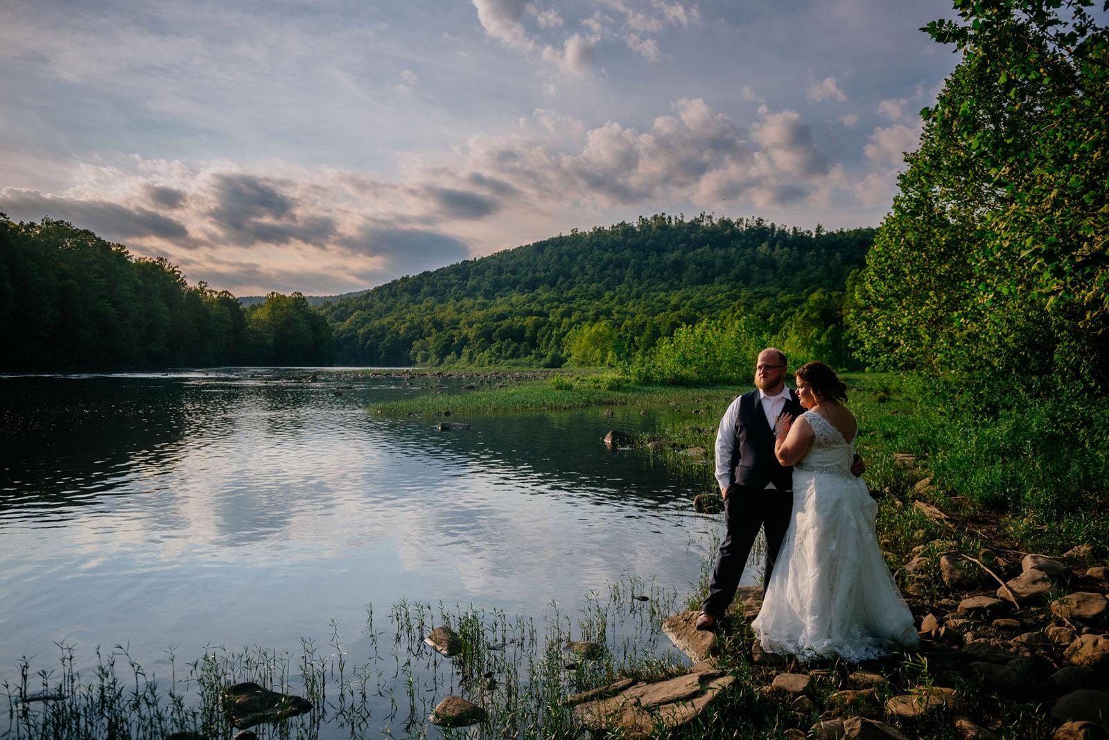 cinematic bride groom portrait cheat river wedding wv