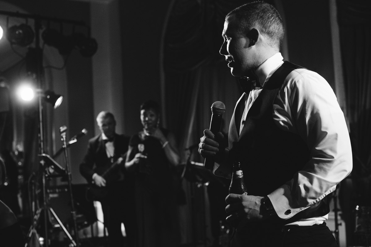 groom speaking during greenbrier resort wedding reception