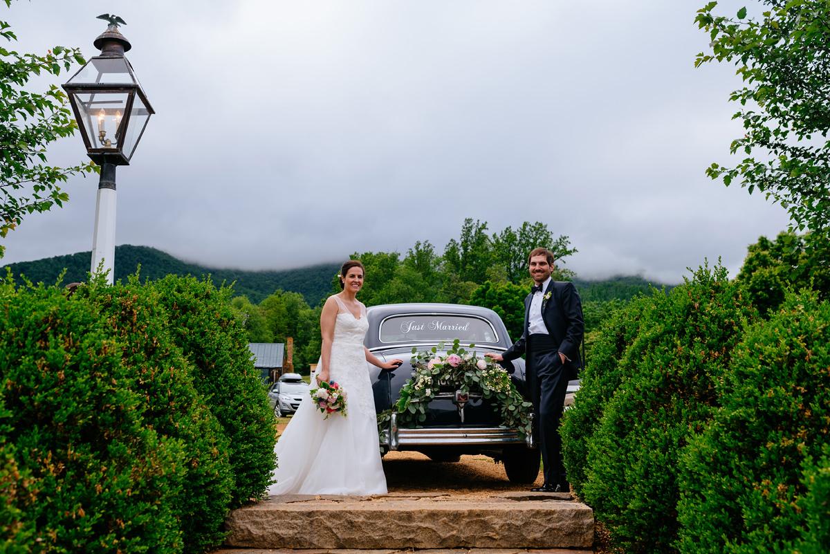 pharsalia virginia wedding vintage getaway car and foggy mountains