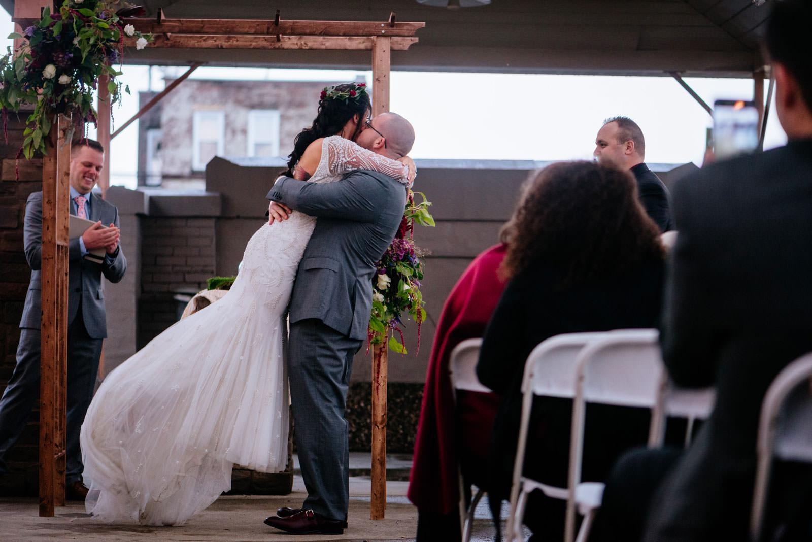 032groom Hugs Bride After Wedding Ceremony Morgantown Wv Wedding