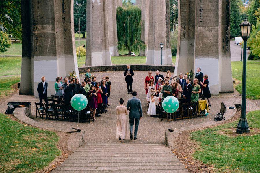 bride and groom entering wedding ceremony