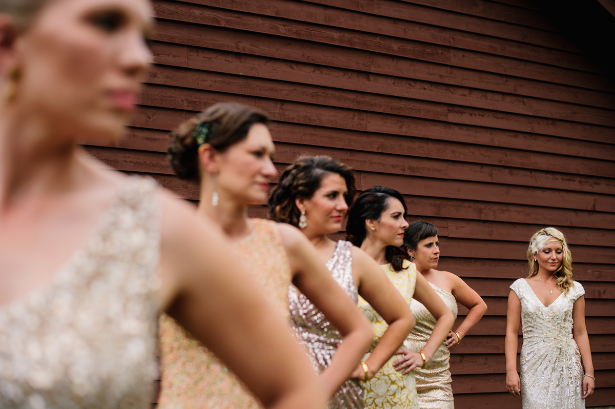 bridesmaids in different sequin dresses