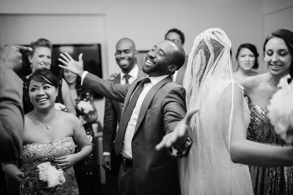 happy hugs after wedding ceremony